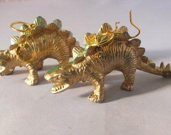 gold dinosaur   fun earrings kitsch