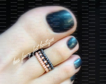 Stacking Toe Rings, Stacking Rings, Hematite Toe Ring, Hematite Ring, Rose Bead Ring, Rose Bead Toe Ring, Stretch Bead Toe Rings