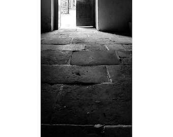 Black and White Photography - Dark Hallway Fine Art Photograph - 8x12