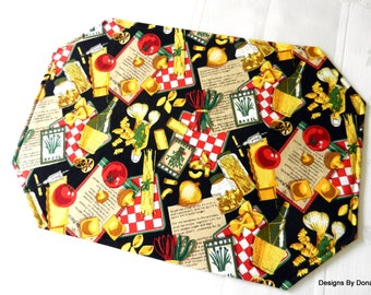 One or More Reversible, Quilted Placemats, Italian Foods & Drink on Black and Different Pasta on Black, Handmade Table Linens
