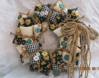 "Sunflower Fall Gingham Vintage Button & Vintage Fabric Pillow Wreath 11"" Diameter Primitive Indoor Outdoor Summer Spring"
