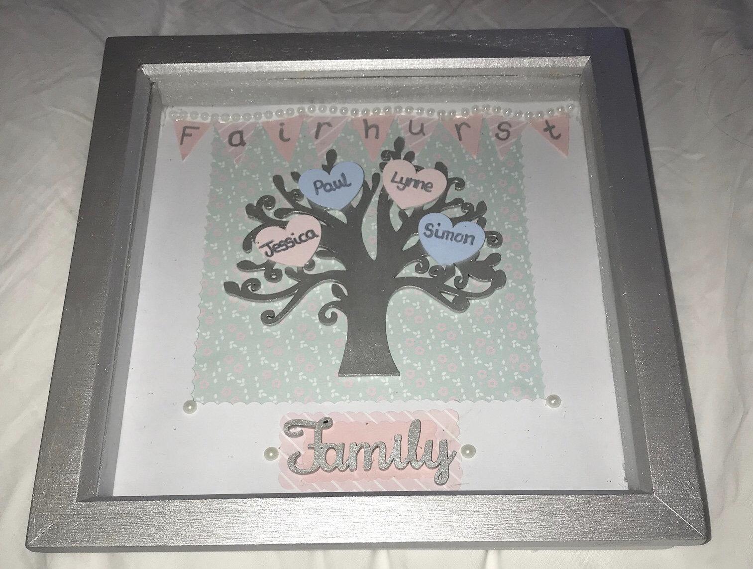 Personalised Family Tree frames - \'our family\' box frame - custom ...