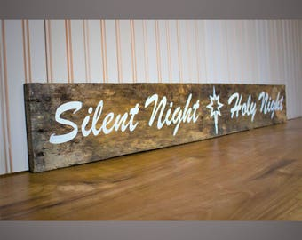 Christmas Decor Sign Farmhouse Style Silent Night Holy Night Pallet Board Christmas Sign Rustic Sign