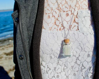 White Sea Glass Bottle Necklace
