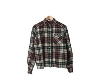 Vintage 50s/60s Plaid Wool Button Down Top Size M