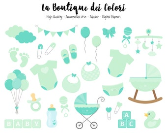 Mint Baby Shower Clipart, Cute Graphics PNG, Scrapbook Invitation baby boy -girl, Green nursery Clip art, Planner Stickers Commercial Use
