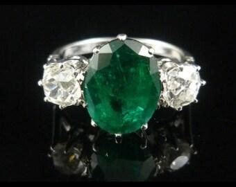 Antique Emerald Diamond Ring 18ct White Gold 4.50ct Emerald