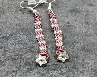 Dangle Star Earrings - Beaded Jewelry - Lightweight Minimalist Earrings - Seed Bead Jewelry - Crystal Earrings