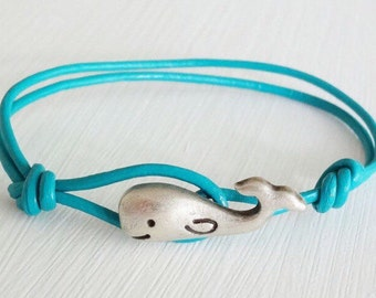 Whale Leather Bracelet, Nautical Jewelry, Ocean, Animal, Sea Life, Beach, Antique Silver Jewelry, Genuine Leather Cord (14 Colors Available)