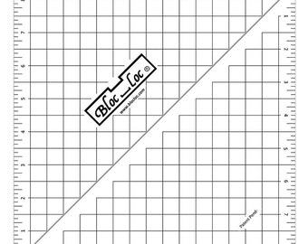 """SALE!!!  Bloc-Loc 8.5"""" Inch Ruler - Half Square Triangle Ruler - Square Up Ruler for HST - Quilting Tool"""