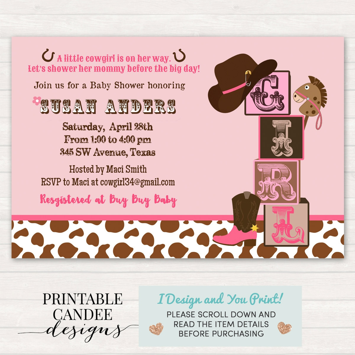 Cowgirl Baby Shower Invitation Cowgirl Baby Shower Western