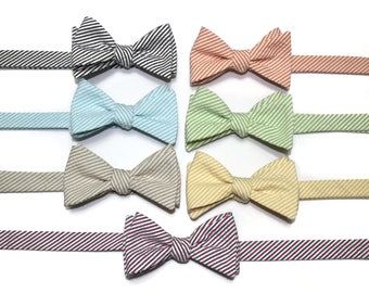 Seersucker Bow Tie~Mens Self Tie Bow Tie~Mens Pre-Tied~Anniversary Gift~Wedding Tie~HoBo Ties~Cotton Bow Tie~Mens Gift~Wedding Bow Tie