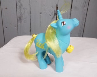 Vintage Mlp D.J. G1 Dance N' Prance My Little Pony unicorn Stereo boombox 1980's  pony spinning tail blue yellow