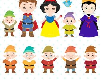 Princess Digital Clipart, Snow White Clipart, Princess Clipart