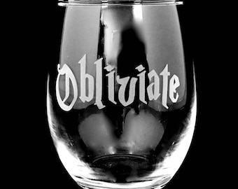 Harry Potter Obliviate Wine Glass, Stemless, Glass with Stem