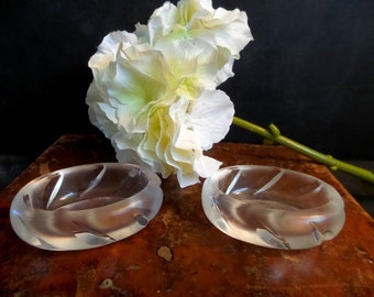 Signed LALIQUE Crystal Frosted salt and pepper cellars dishes. Lalique France bowls