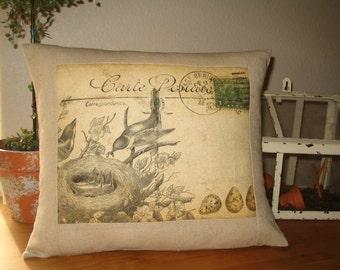Decorative Pillow French Carte Postale Bird Pillow