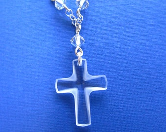 Swarovski Clear Frosted Cross Sterling Silver Charm Necklace