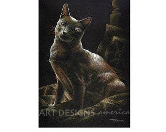 ACEO Cat Art Print, Posing Gold Cat, Archival Art Print, SFA, Small Format Art, Art Card, Pastel Print, Gold, Copper and Black Cat, ADA-P311