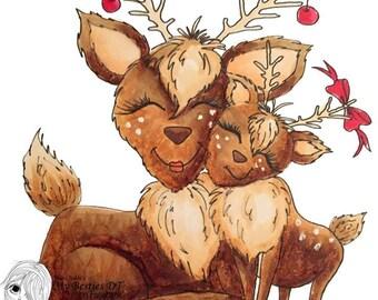 INSTANT DOWNLOAD Digital Digi Stamps Big Eye Big Head Dolls Digi  Img916 Christmas By Sherri Baldy