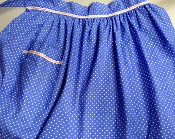 Vintage Half Apron - Blue with white polka dots, pink and white teim