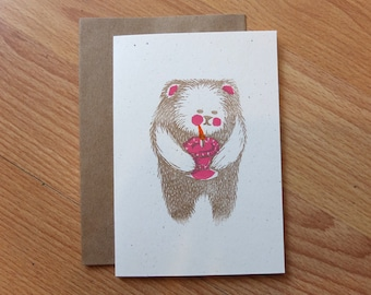 Bear with Cake linocut letterpress card