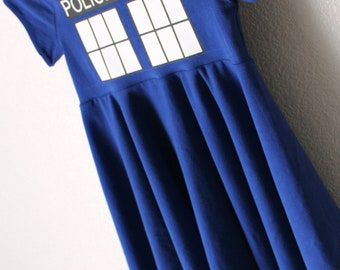 Blue Police Box Circle Dress for Girls