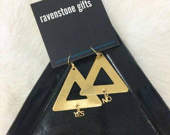 yes/no triangle earrings