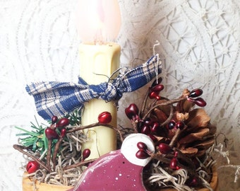 Electric, lamp,  basket, winter candle lamp, red, snowman, pinecone, firs, jingle pipberries