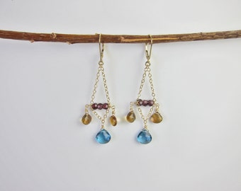 Blue Topaz, Citrine, Garnets 14K Gold Handmade Chandelier Earrings