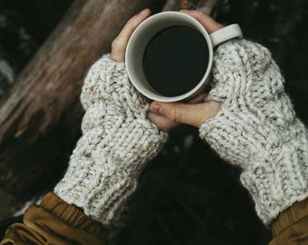 Fingerless Cable Knit Mitten Gloves