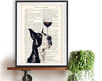Impression grand danois, Dogue Allemand avec verre de vin, noir et blanc, grand danois chien, Art Print sur page de livre français recyclé