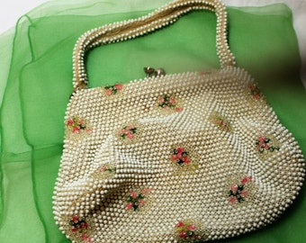 Vintage White Beaded Purse with Pink Flowers AS IS