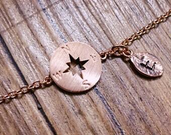 rose gold compass Bracelet, Personalized bracelet, initial bracelet,best friend bracelet, Bridesmaid gifts, friendship bracelet