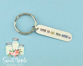 Gay Pride Keychain, Love Is All You Need, Rainbow Keychain, LGBT Gift, Love Is Love, Gay Pride Keyring, Pride Keychain, Gay, Lesbian, LBGTQ
