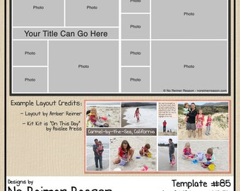 12x12 Digital Scrapbooking Template (2 Page Scrapbook Layout) #85