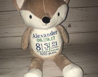 Birth Announcement Stuffed Animal- Personalized Stuffed Animal- Personalized Fox Stuffed animal-New baby gift-fox nursery
