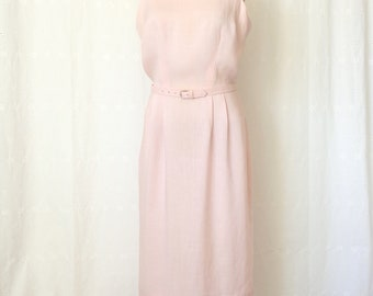 Chic Vintage 1960's Light Pink Wiggle Shift Belted Cocktail Dress, Size 16 M/L, Bust 37 Waist 30, Mad Men, Atomic Age, Mid Century Style