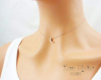 I love you to the moon and back choker. Tiny rose gold, silver or gold moon choker necklace. Elegant and dainty choker necklace