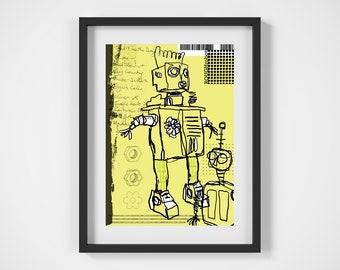 Robot Art, Robot Print, Robot Wall Art, Giclee, Robot Art Print, Original Art, A4, Sci-fi, Decorative, Contemporary Art, Space, Unframed