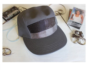 Cassette Tape, Camp hat with music woven in. 5-panel