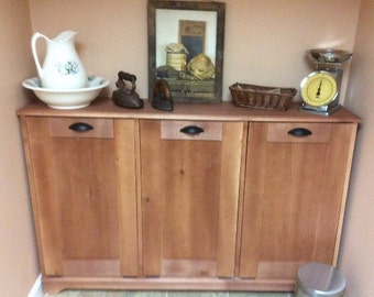 Wood Trash Can, Recycling Bin, Storage Bin, Solid Pine Garbage Can, Handmade Stained
