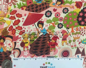 SNOW WHITE Cream Bright Fairy Tale Quilt Fabric - by the Yard, Half Yard, or Fat Quarter Fq Whimsical Japanese Anime Style Artwork 7 Dwarfs