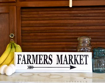Farmer's Market with Arrow sign, White