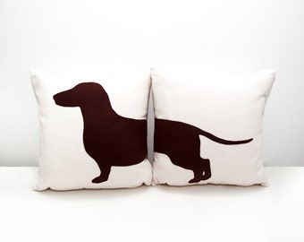 Personalized dachshund cushion covers, beige and dark brown, dog pillows, decorative pillows, pet pillows, cojín sofá, dog lover, pillow set