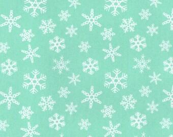 SNOWFLAKE MINT, Cotton/Lycra Jersey Knit Fabric, by the Yard