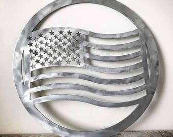 American Flag Metal Sign for Wall or Door