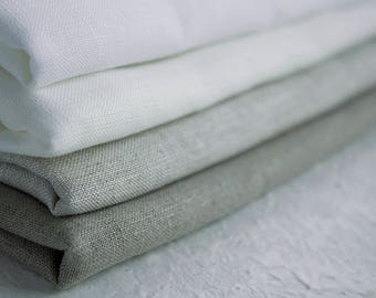 Pure Linen fabric. Undyed Linen fabric in snow white, natural white, light grey and natural grey colors  160g/m weight fabric for sewing