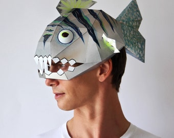 BAD FISH Mask - Make this funny mask from card, using this easy PDF pattern
