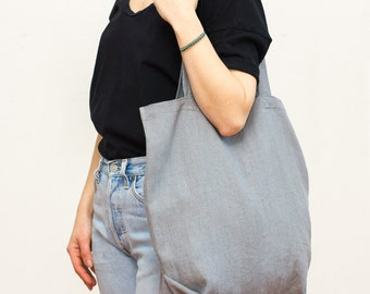 gray linen tote bag / packable and lightweight
